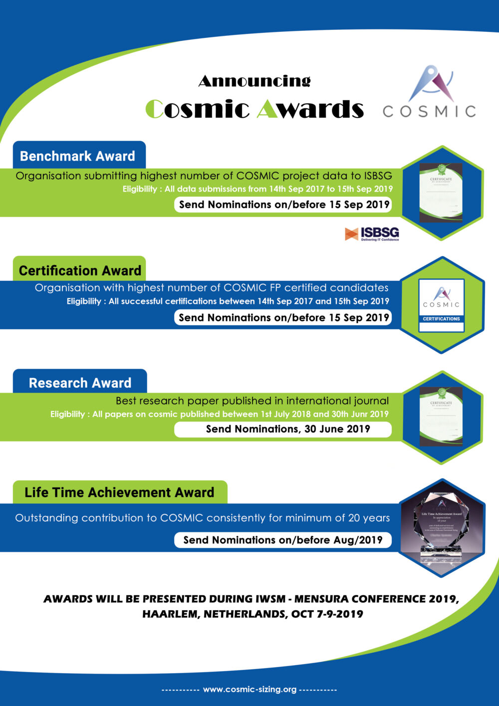 COSMIC Awards for benchmark, certification and research